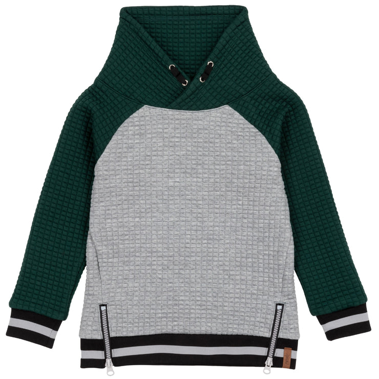 Grey & Forest Green Quilted Sweatshirt With Funnel Collar