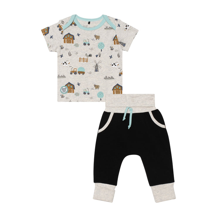 Organic Cotton Farm Printed Top and Solid Evolutive Pant Set