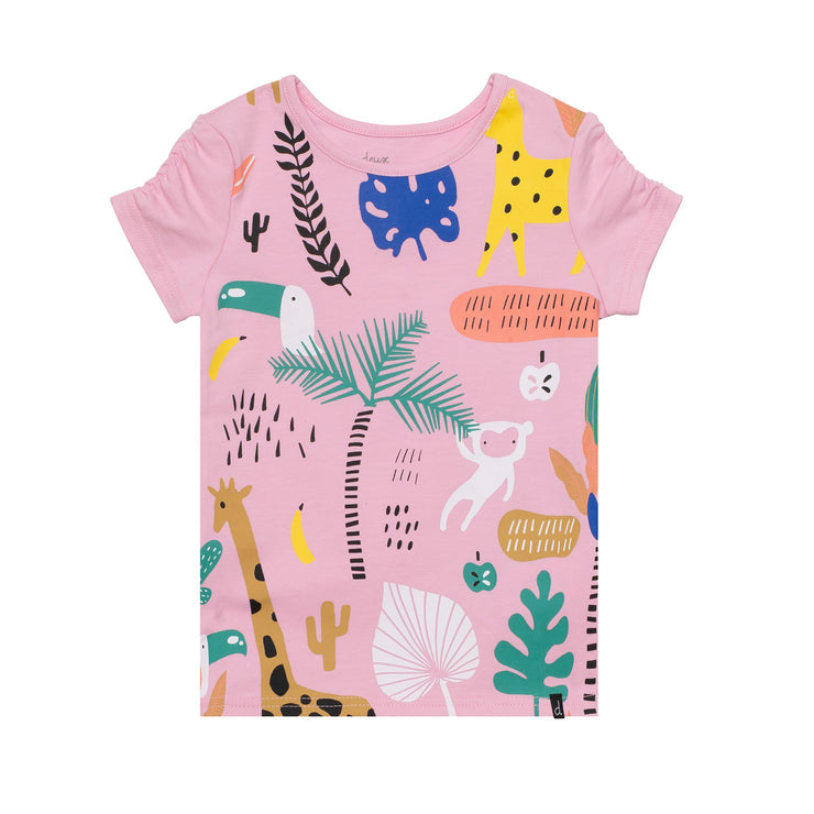 Shirred Tee Shirt With Jungle Print
