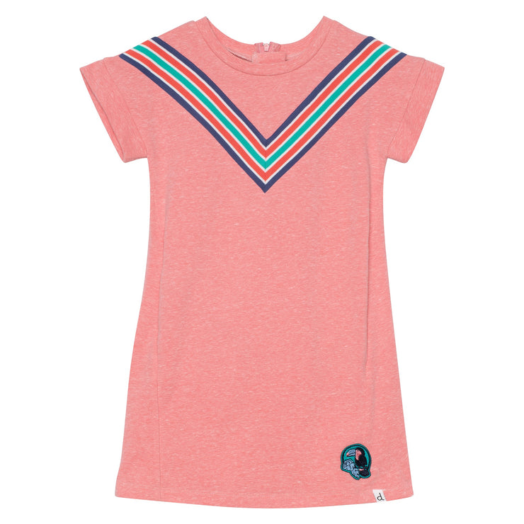 Fleece Dress with Multicolor Stripes in Light Coral