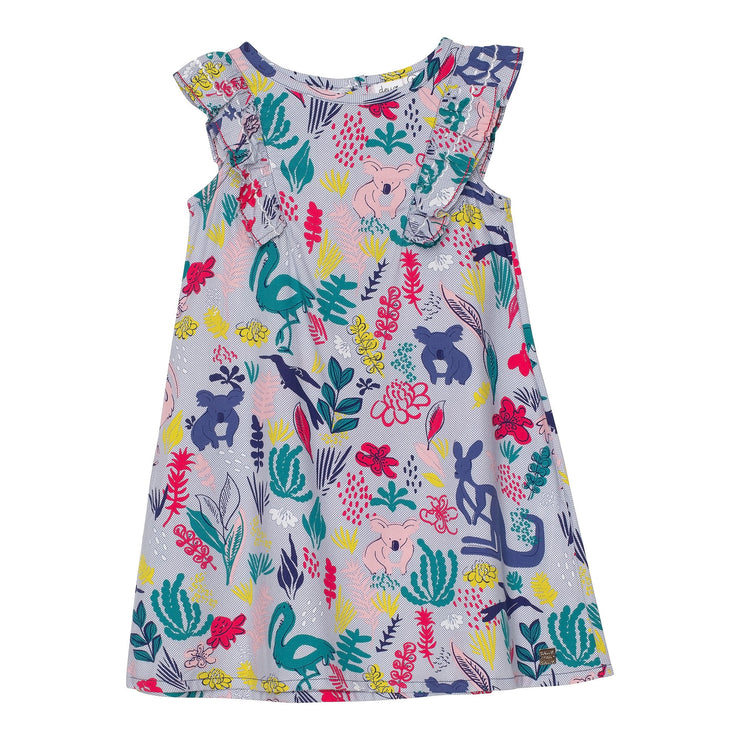 Printed Soft Woven Dress with Ruffles