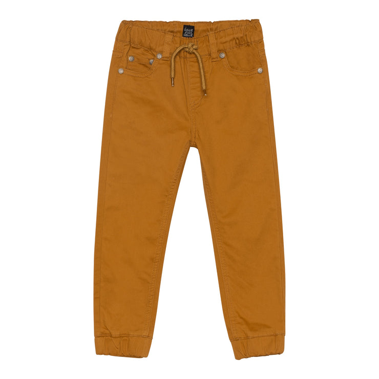 Elastic Waist Twill Jogger Pant in Brown Caramel