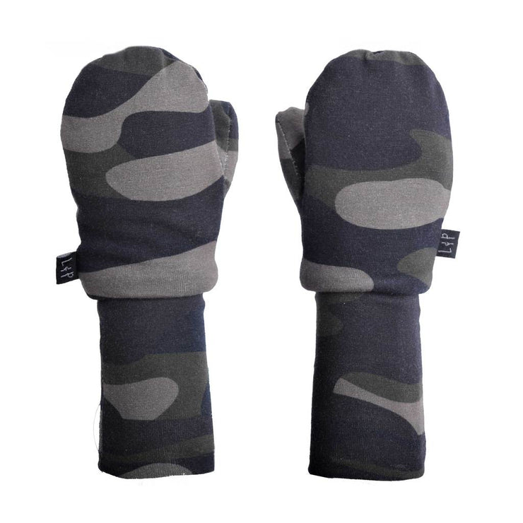 Cotton Mitts Lined in Sherpa in Camo