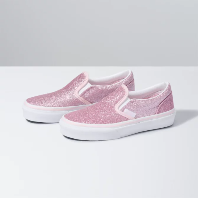Blushing Glitter Slip On V