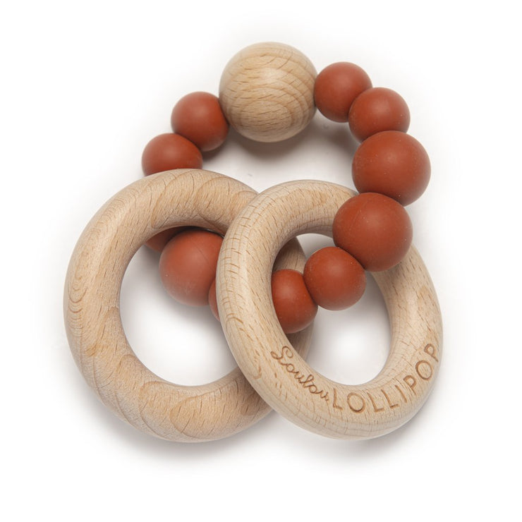 Bubble Silicone and Wood Teether - Rust