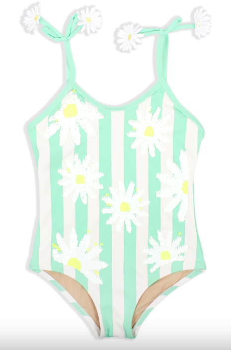 Striped Mint Daisy Magic Sequin 1PC Swimsuit