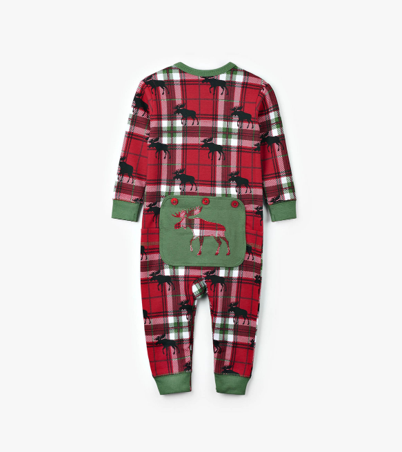 Holiday Moose on Plaid Baby Union Suit