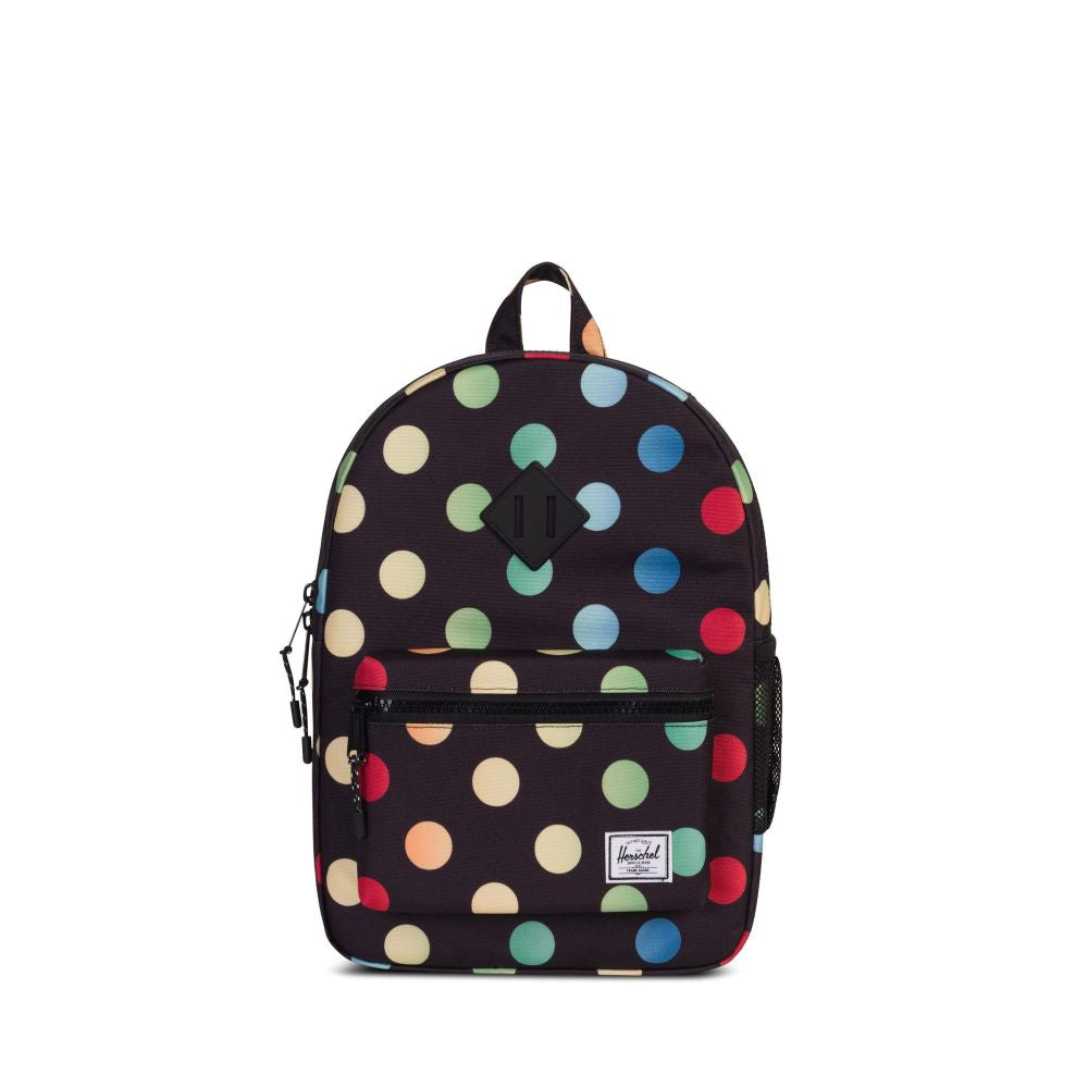 multi colour polka dots heritage kids backpack
