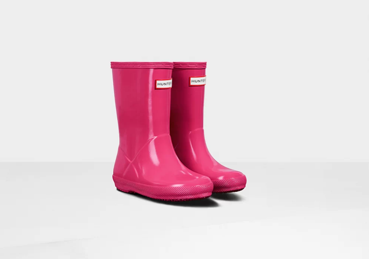 Original Kids First Classic Gloss Rain Boots: Bright Pink