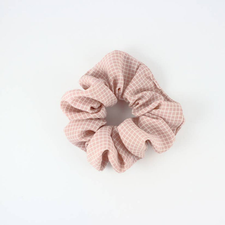 Pink Check Scrunchies