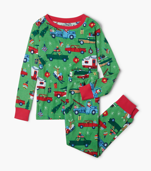 Green Retro Christmas Pajama Set