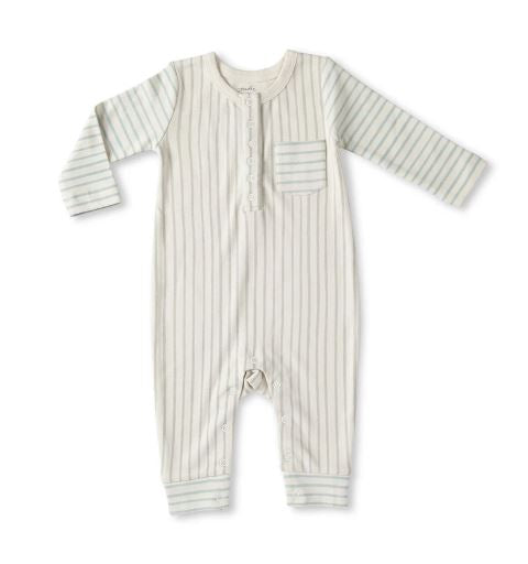 Long Sleeve Romper in Stripes Away Pebble/Sea