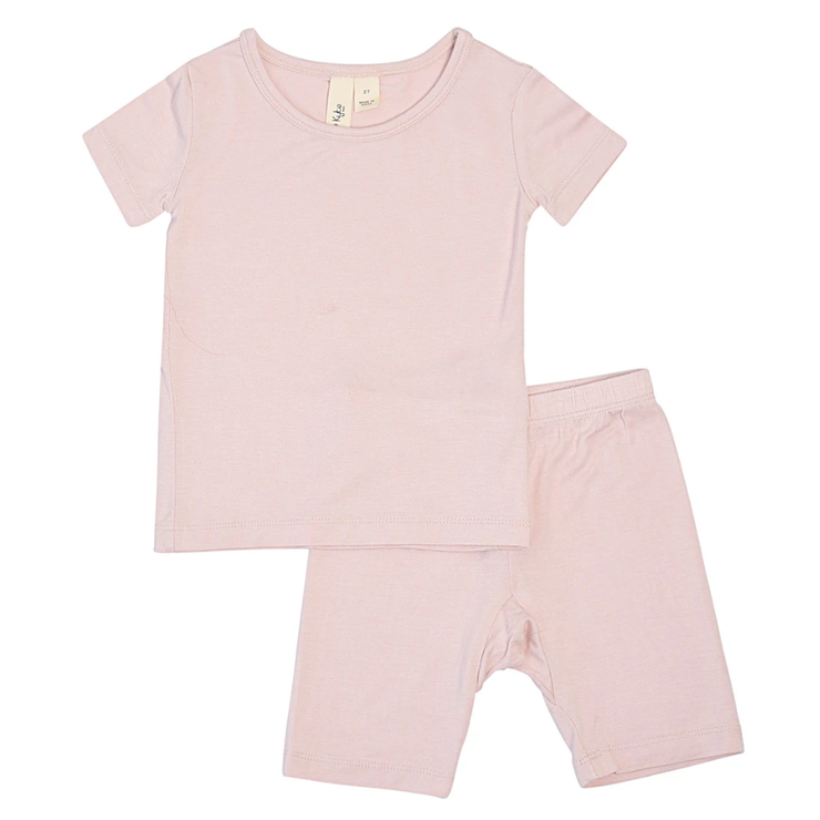 Short Sleeve Toddler Pajama Set in Blush