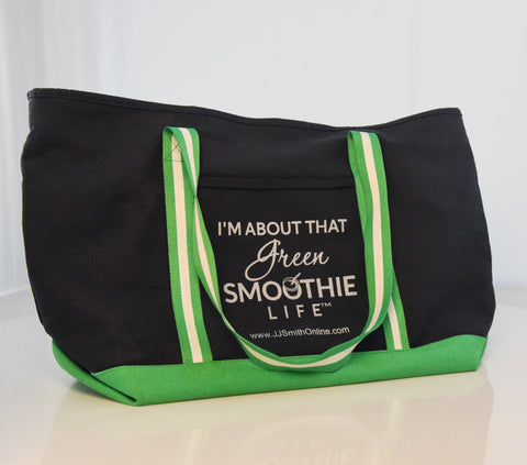 Tote Bag - Green Smoothie Life/Blue w/green & white straps