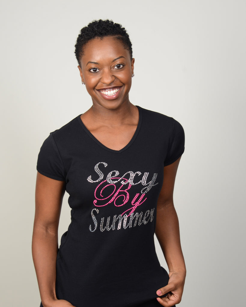Black Rhinestone Sexy By Summer Tee-V-neck