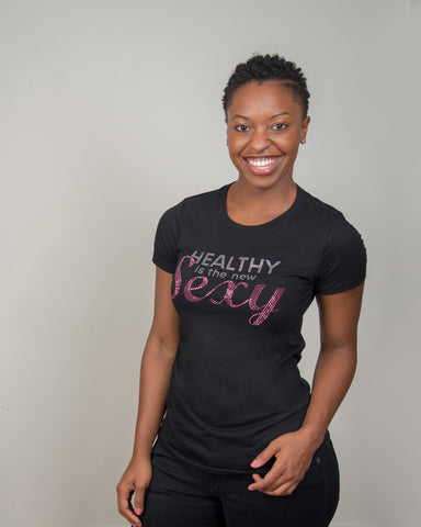 Healthy is the new Sexy - clear/pink stones Crew