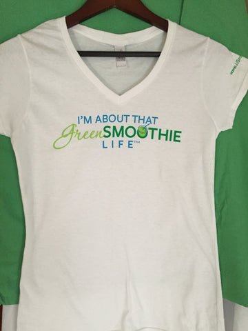 V-neck Green Smoothie Life -White