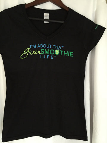 V-neck Green Smoothie Life - Black