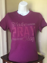 Wake Pray Slay - Violet with Pink stones
