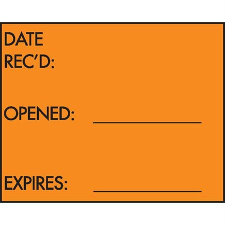 "3 Line Label: ""Date Rec'd / Opened / Expires,"" Fluorescent Orange."