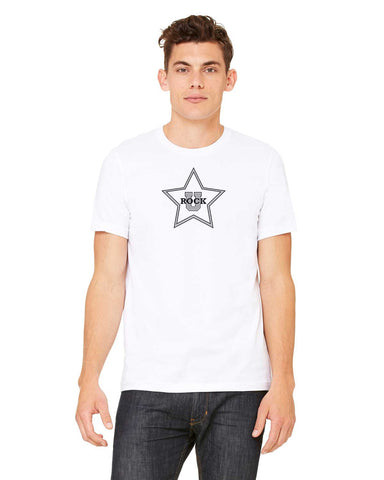 Rock U Unisex T-Shirt Star Front 3001c with Logo on Back