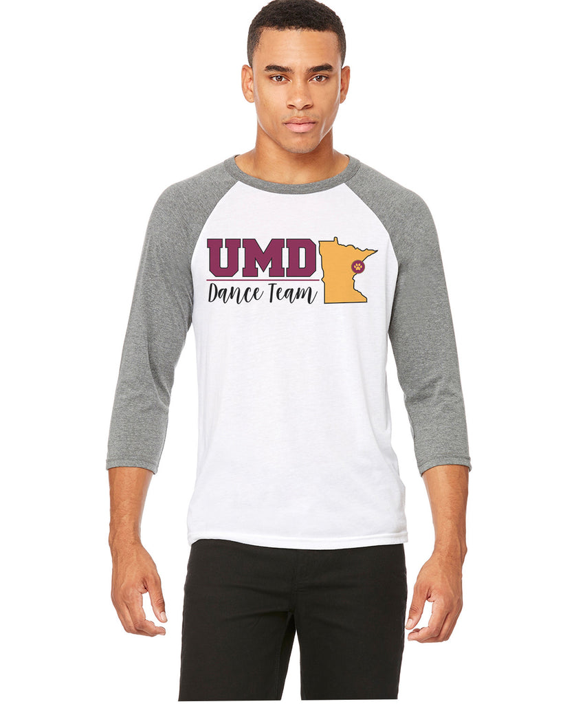 UMD Dance Team Raglan 3/4 Sleeve T-Shirt - Multiple Designs to Choose From - 3200