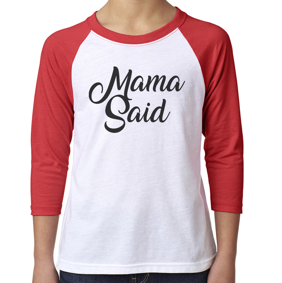 Roxies Dance - 3352 Youth Red/White Raglan - Mama Said Front
