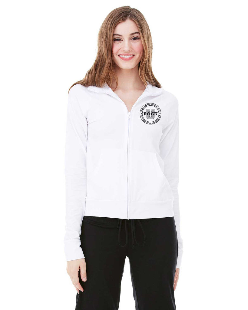 Rock U Women's White 1/4 Zip Cadet Jacket 807