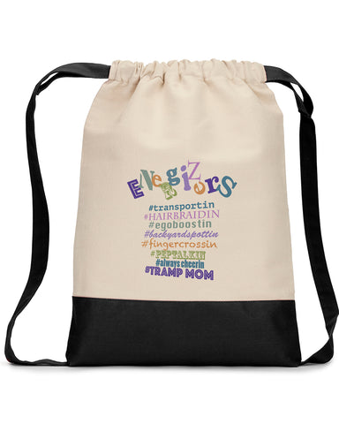 8876 Cotton Canvas Drawstring Backpack with Contrasting Bottom