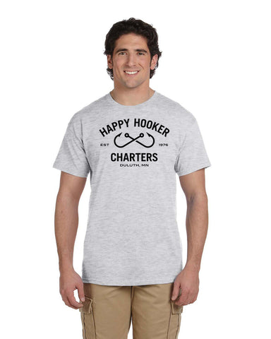 Happy Hooker Charters G200 Cotton T-Shirt - Black Logo
