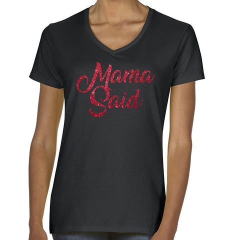 Roxies Dance - G500VL Ladies Black V-Neck Tee - Mama Said Front