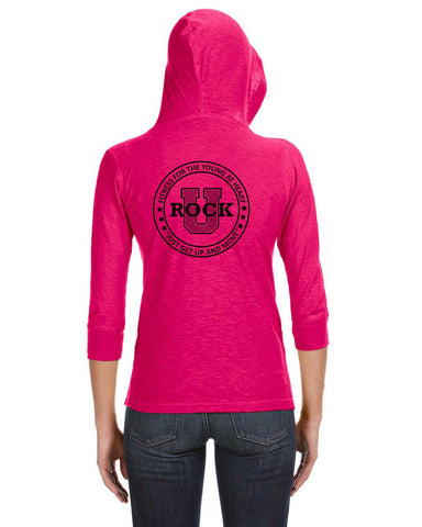 Rock U Women's 3/4 Sleeve Hoodie Front Crest JA8153 with Logo on Back