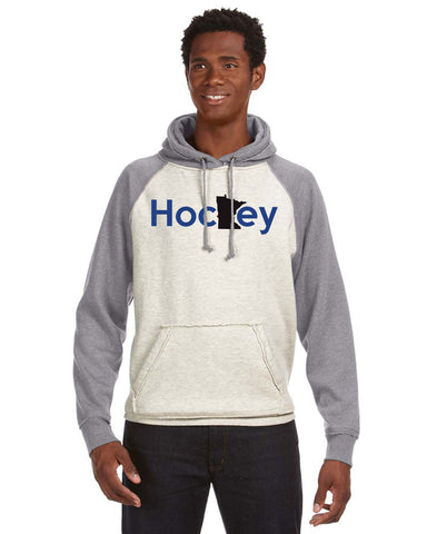 JA8885 Vintage Heather Raglan Hoodie - Unisex - MN Hockey