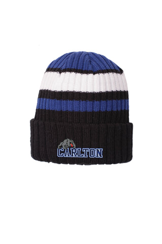 NE902 Embroidered Royal White Black Beanie Carlton Hockey