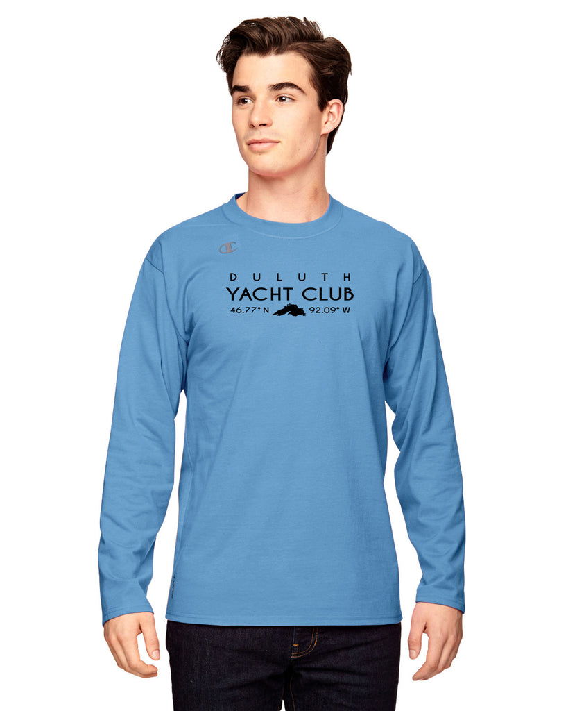 Duluth Yacht Club T390 Unisex Champion Vapor Cotton Long Sleeve T-Shirt - Blue w/ black logo