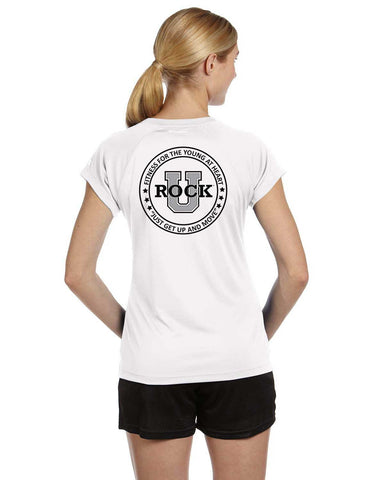 Rock U Women's Performance T-Shirt Front Crest CW23 with Logo on Back