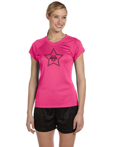 Rock U Women's Performance T-Shirt Front Star CW23 with Logo on Back