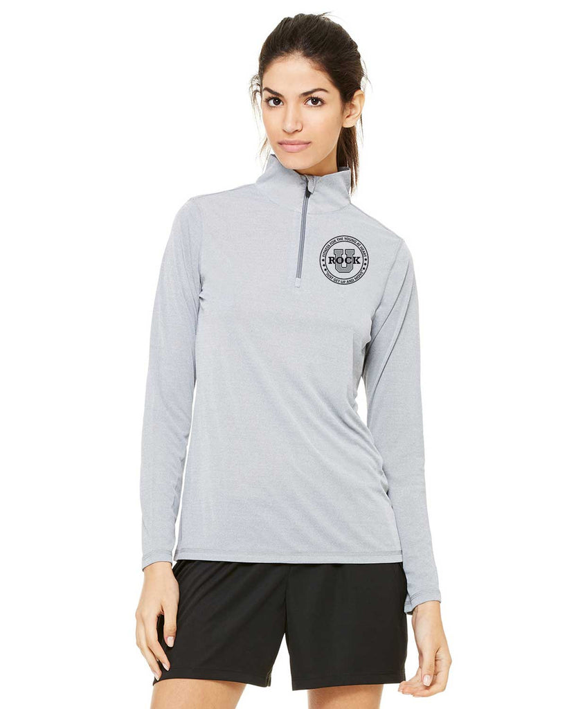 Rock U Women's Athletic Heather 1/4 Zip Jacket W3006