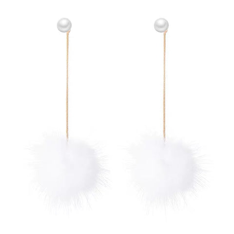 Fur Ball And Pearl Long Earrings
