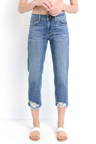 Destroyed Hem Straight-Leg Jeans
