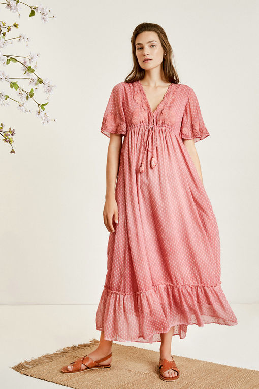 Scallop Hem V-neck Dotted Chiffon Maxi Dress