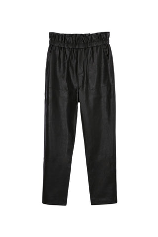 High-waisted Paperbag Leatherette Pants