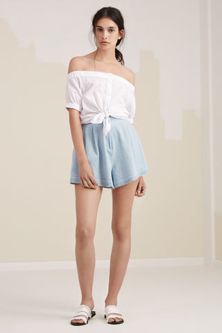 Flared Denim Shorts