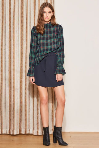 Tartan Long Sleeve Sheer Top