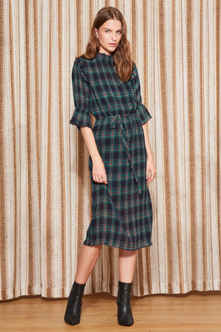 Tartan Tie Waist Midi Dress
