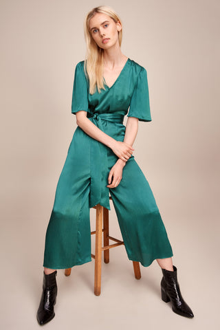 Silky V-Neck Wide Leg Jumpsuit