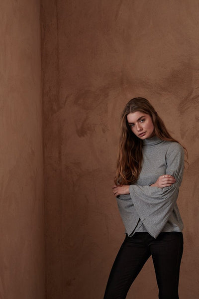 Bell Sleeve Ribbed Turtleneck