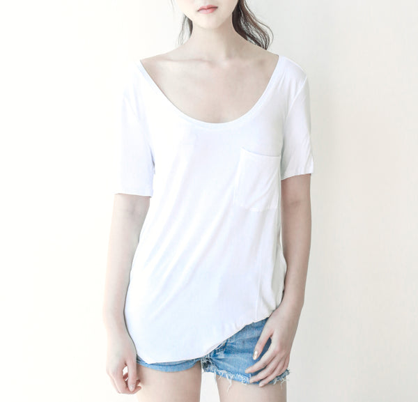 Scoop Neck T-shirt with Front Pocket