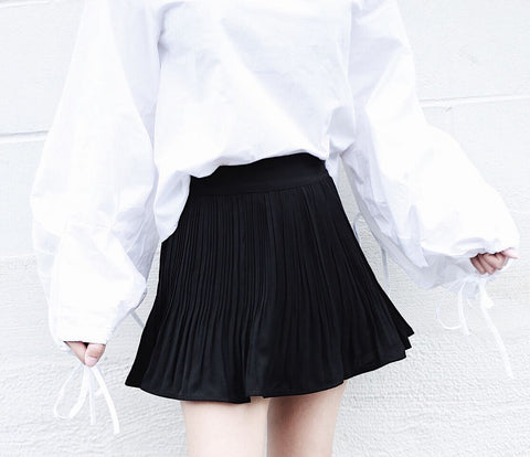 Pleated Chiffon Skort with Elastic Waistband