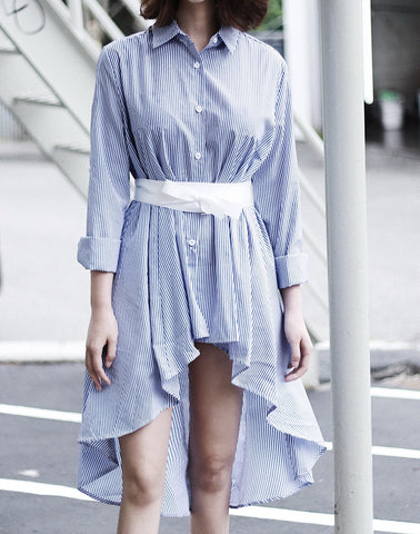 Oversized Uneven Stripe Shirt with Waist Belt